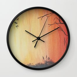 Dragonfly Forest Wall Clock