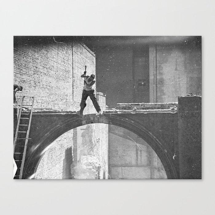 Old photo man of the bridge Canvas Print