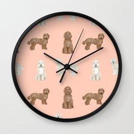 Labradoodle dog breed pet pattern labradoodles Wall Clock