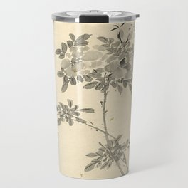 Vintage Chinese Ink and Brush Painting and Calligraphy Travel Mug