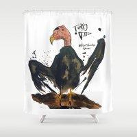 turkey Shower Curtains featuring Turkey Vulture by Mt Zion Press