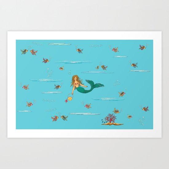Fashionable mermaid Art Print