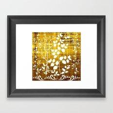 White leaves decor on golden background Framed Art Print