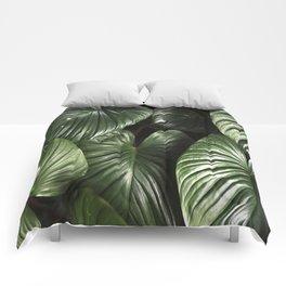 dark green jungle rainforest tropical leaf Comforters