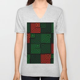 Red and green tiles with op art squares and corners Unisex V-Neck