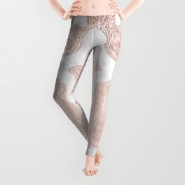 Modern rose gold floral lace hamsa hands white marble illustration pattern Leggings