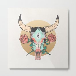 cráneo de vaca Metal Print