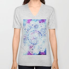 Purple and Blue Tied-Dye Mandala - LaurensColour Unisex V-Neck