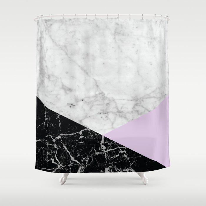 White Marble   Black Granite U0026 Light Purple #388 Shower Curtain