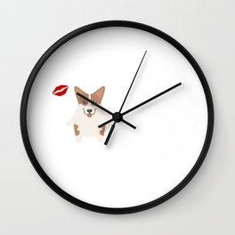 I Kissed A Corgi And I Liked It Cute Dog Kiss Gift Idea Wall Clock