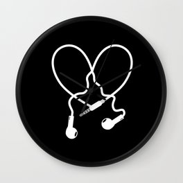 Love Music Headphones Wall Clock