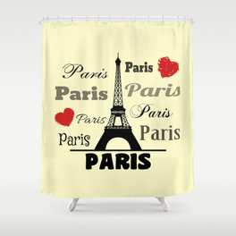 Paris text design illustration 2 Shower Curtain