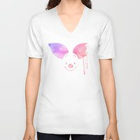 piglet V-neck T-shirts featuring Always Forever - Piglet by Sara Eshak