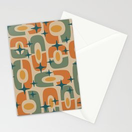Mid Century Modern Cosmic Abstract 143 Orange Teal Beige and Yellow Stationery Cards
