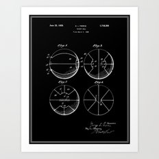 Basketball Patent - Black Art Print