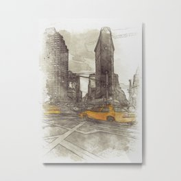 NYC Yellow Cabs Flat Iron Building - SKETCH Metal Print