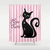 a lot of cats Shower Curtains featuring Love Cats by Cat Attack