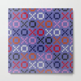 XOXO pattern - blue Metal Print