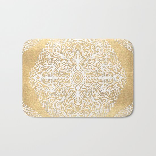 White Gouache Doodle on Gold Paint Bath Mat