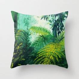 Rainforest Lights and Shadows Throw Pillow