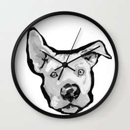 RESCUE ME Pit Bull Pitbull Dog Pop Art black and White Painting by LEA Wall Clock