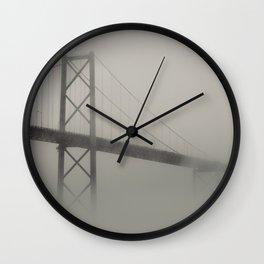 Bridge in Fog Wall Clock