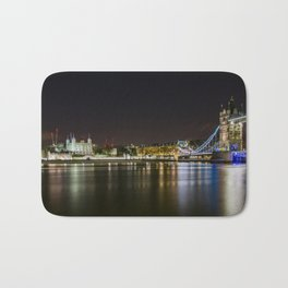 Night photo of Tower Bridge and the Tower of London with light reflections Bath Mat