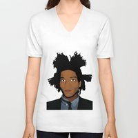 basquiat V-neck T-shirts featuring Basquiat by evanski