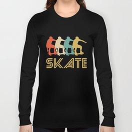 Skater Retro Pop Art Skateboarding Graphic Long Sleeve T-shirt
