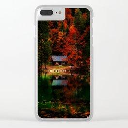 Fall Cabin Clear iPhone Case