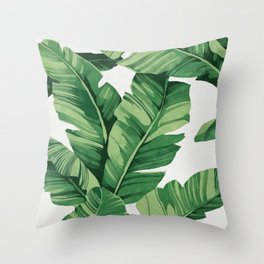 Tropical banana leaves Throw Pillow