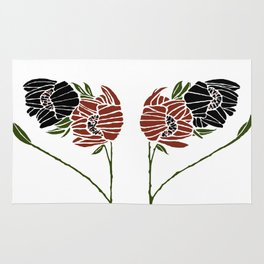 Abstract poppies by Seasons K Designs Rug