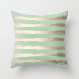 Simply Brushed Stripes White Gold Sands on Pastel Cactus Green Throw Pillow