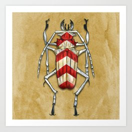 Stripped Psalidognathus Beetle Art Print
