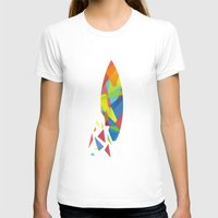 surfboard T-shirts featuring Surfboard abstract triangle by frap231