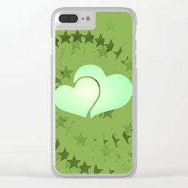 Two green hearts illusion Clear iPhone Case
