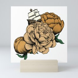 Sailing a Sea of Peonies - Vintage Yellow Mini Art Print