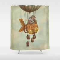 beth hoeckel Shower Curtains featuring Around the World in the Goldfish Flyer by Eric Fan