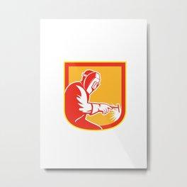 Welder Holding Welding Torch Shield Retro  Metal Print