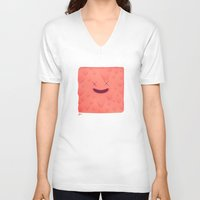 furry V-neck T-shirts featuring Furry Square by Flester