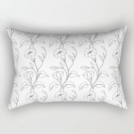 Floral Drawing in black and white Rectangular Pillow