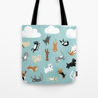 dogs Tote Bags featuring Raining Cats & Dogs by Anne Was Here