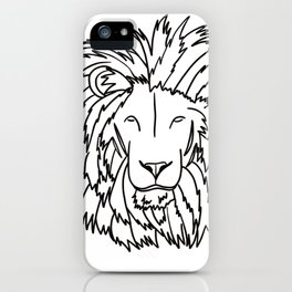 Lion Head In Black and White Line Drawing iPhone Case