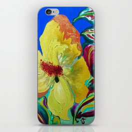 Birthday Acrylic Yellow Orange Hibiscus Flower Painting with Red and Green Leaves iPhone Skin
