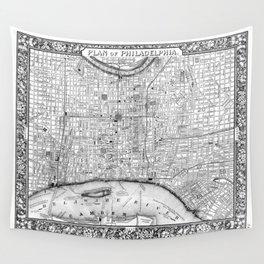 Vintage Map of Philadelphia Pennsylvania (1860) BW Wall Tapestry