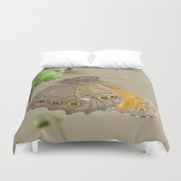 Meadow Brown Butterfly Feeding On Aphids Duvet Cover