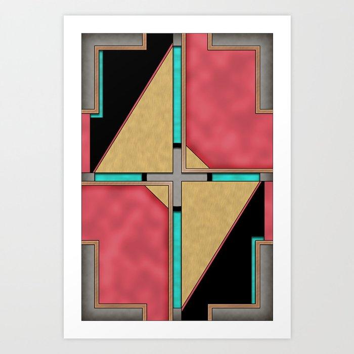 Quad - Geometric Art Deco Design Art Print
