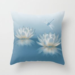 Blue Lotus and Dragonfly Throw Pillow
