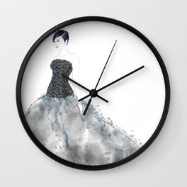 Fashion illustration long dress enbroidered bodice Wall Clock