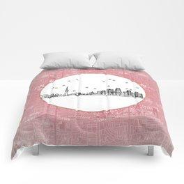 Beijing, China City Skyline Illustration Drawing Comforters